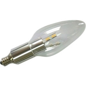 Chandelier LED Light Bulb, Clear Torpedo, Aluminum