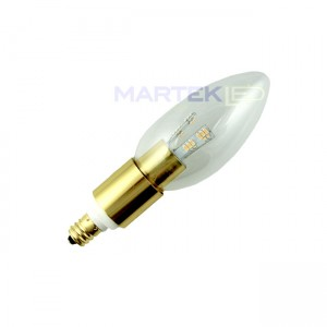 Chandelier LED Light Bulb, Torpedo,  Brass